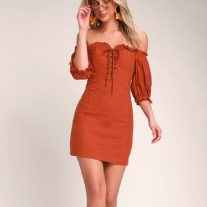 Lulus see ya later terra cotta lace up dress XL